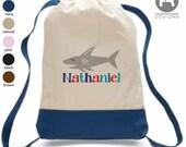 Shark Backpack - Personalized Beach Backpack - Printed Pool Bag - Summer Camp Bag - Daycare Bag - Preschool Backpack