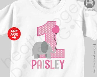 Elephant 1st Birthday Shirt or Bodysuit - GIRLS Personalized Elephant First Birthday Shirt or Bodysuit - Zoo Birthday Shirt