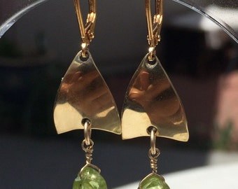 Peridot Gold Petal Earrings