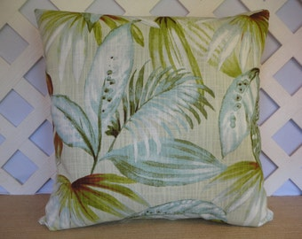 Tropical Foliage Pillow Cover Ice Blue Green White / Tropical Pillow / Foliage Pillow / Blue Green Pillow / Accent Pillow / 20 x 20 Pillow