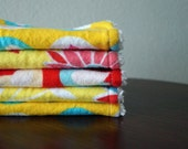 Baby Girl Wash Cloths - Birds - Flowers - Bright Yellow and Red - Baby Shower Gift