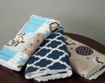 Monkey Burp Cloths - Boy Burp Cloth Set - Baby Boy - Baby Monkey - Blue & Brown - Monkey Nursery - Monkey Baby Shower Gift