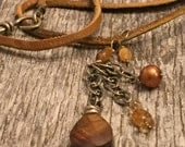 Deer Skin Gemstone Necklace - Gold Tones Gemstones - Oxidized Sterling Silver - Hand Crafted Artisan Jewelry