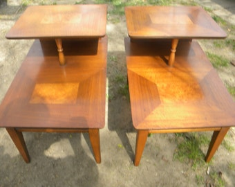 nice pair clean vintage mid century modern burl walnut LANE END TABLES  pick up only