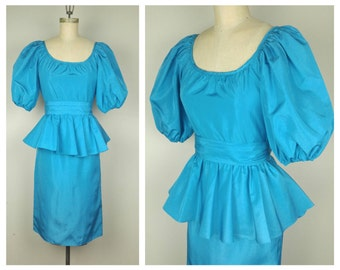 80s Billy Jack for Her - Bright Blue Peplum Dress - Petite Small
