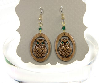 Owl Earrings Hancrafted from Cherrywood - Surgical Steel Wires