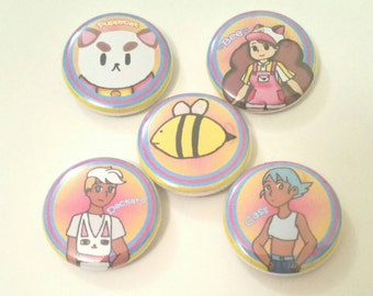 Bee and Puppycat inspired 2.25 inch pinback button badge set