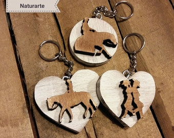 Key chains with western riding silhouettes