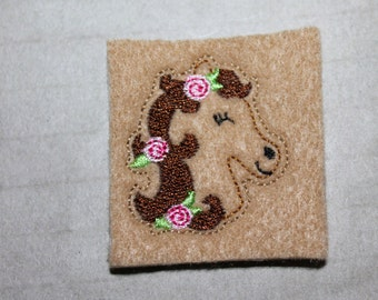 Horse head w/ roses felt, Horse with roses feltie on camel tan felt, felt stitchies, 4 pieces for hair accessories, scrap booking or crafts