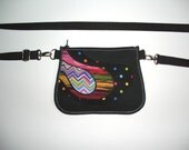 Belt Bag Utility Cute Phone Case mini hip bag hipster fanny pack little sling purse /small festival wallet/ mixed fabrics in black colours