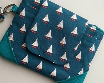 Nautical Wristlet|Nautical Clutch Bag|Teal Clutch|Sailing Boats|Clutch Purse|Wristlet|Evening Purse|Handbag|Canvas