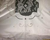 Antique Italian Table Linens, Cutwork Tablecloth, Putti, Figural Lace Tablecloth, Trousseau Linens
