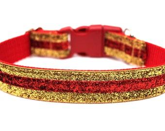 """Gold Dog Collar 1"""" Glitter Dog Collar Red Dog Collar"""