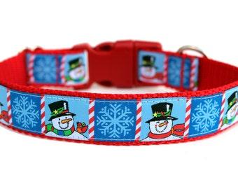 "Snowman Dog Collar 1"" Christmas Dog Collar SIZE MEDIUM"