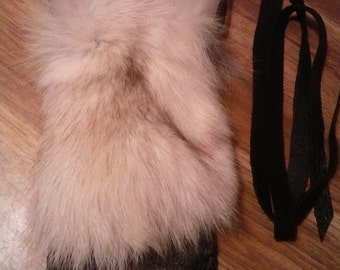 Arctic Fox Accessory Leather Pouch Case- Fox Pelt Leather Bag- Handmade in the USA- Native American- Elusive Wolf