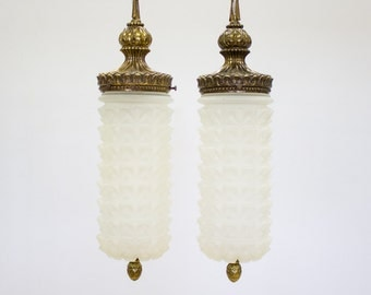Vintage Pendant Lights / Hanging Swag Lamps, Set of 2 Art Deco Decor