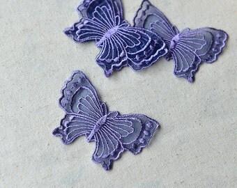 40pcs 4.5x7cm wide purple butterflies mesh embroidered appliques patches 9211 free ship
