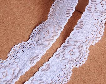 "20 yard 3cm 1.18"" wide white stretch elastic gauze tulle mesh lace trim ribbon t43g free ship"