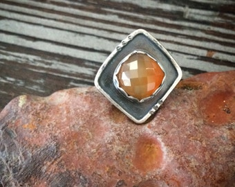 Geometric Carnelian Ring / Rose Cut - Size 7 - Orange Zodiac Birthstone Ring Virgo & Leo - Oxidized Sterling Silver Artisan Crafted Jewelry
