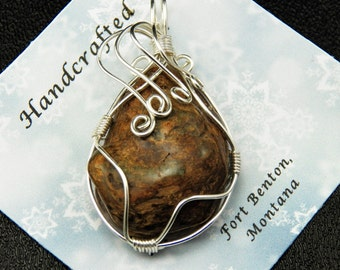 Wire Wrapped Stone Pendant - Wire Wrapped Stone Jewelry - Natural Stone Pendant - Costume Jewelry - Handmade Montana USA - Free Shipping