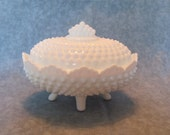 Fenton Hobnail Covered Candy Dish - Mid Century Milk Glass -  Fenton Milk Glass Covered Dish - Made in USA