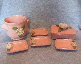Pink Ceramic Vanity Set with Roses / 7 Piece Vanity Set with Roses