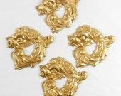 Brass Dragons, Brass Gargoyles, Gothic Jewelry, Jewelry Making, Raw Brass Antique Brass, US Made, B'sue Boutiques, 43 x 45mm, Item06096
