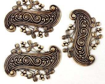 Brass Stampings, Scroll Design, Leafy Border Stampings, Brass Ox, Antique Brass,  US made, Nickel Free, Bsue Boutiques, 46 x 65mm, Item07486