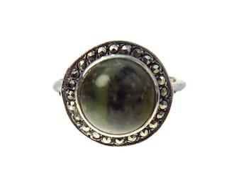 Art Deco Labradorite Marcasite Dome Sterling Ring