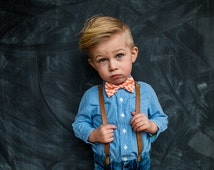 Tan Leather (pu) Suspenders for Baby, Toddler, little boy, and Men, choose your size, ships FREE
