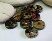 Greek Mykonos, Ceramic Round Washer Beads, Autumn Rust.