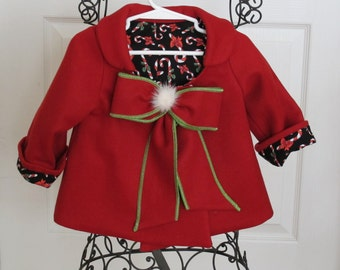 Baby Girl Christmas Bow Coat