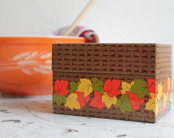 Vintage Tin Recipe Box, Autumn/Fall Leaves