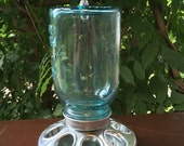 Blue Mason Jar Bird Feeder