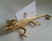 Lizard Business Card Holder in Gold - Office Decor