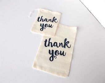 "Thank You Favor Bags, 6""x4"" Cotton Muslin Pouch, Set of 12 Guest Gift Favors, Party Supplies, Wedding Favor Bags"
