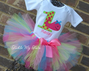 Whale Themed Birthday Tutu Outfit-Ocean Themed Birthday Tutu Outfit-Under the Sea Birthday Tutu Set