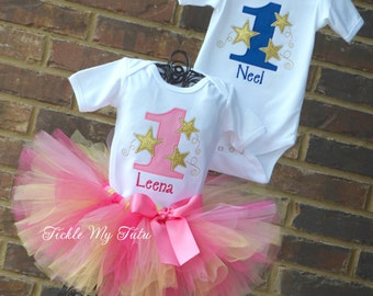 Boy/Girl Twin Twinkle Twinkle Little Star Birthday Party Outfits-First Birthday Star Party Outfit-Pink and Blue Star Birthday Outfits