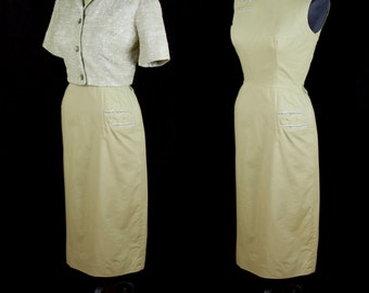 1950s Dress Set // Olive Green Cotton Dress with Two Tone Bolero