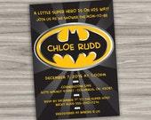 Batman Baby Shower Invitation - Personalized - Printable Digital File