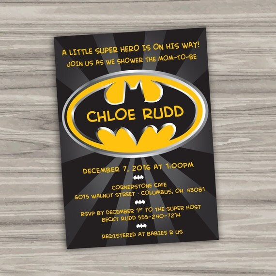 batman baby shower invitation personalized printable digital file