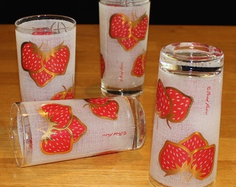 Sweet, Vintage, Set of 4, Fred Press, Gold Trim, Strawberry Tumblers