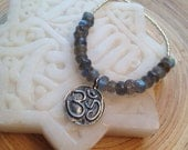 """SALE Silver lotus om necklace labradorite and silver glass yoga necklace 18"""""""