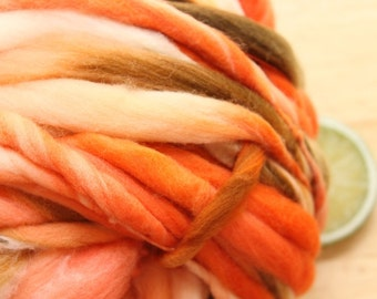 Woodsy Coral - Handspun Wool Orange Brown Thick and Thin Skein