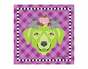 Labrador Pet Portrait Art Print Illustration Wrapped Canvas 12x12x.75 Lab