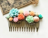 Coral Pink Mint Green Hair Comb Wedding Bridesmaid Gift Peach Turquoise Blue Mint Bridal Head Piece Floral Flower Pastel Colors Fall Colors