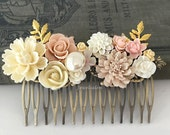 Pink Wedding Hair Comb Gold Bridal Hair Piece Blush Hair Accessories for Bride Bridesmaids Gift Cream Floral Hair Adornment Cream Ivory
