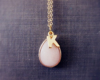Gold Blush Wedding Custom Initial Necklace Bridesmaid Gift Pink Personalised Necklace Gold Necklace Layered Necklace Friendship Necklace
