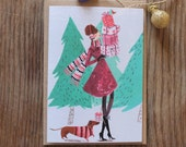 60s Lady with Presents - Illustrated Christmas Card