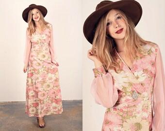60s Pink Shimmer Dress Vintage Floral Pink Glitter Maxi